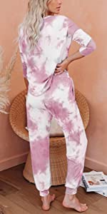 tie dye sweatsuits 2 piece outfits set