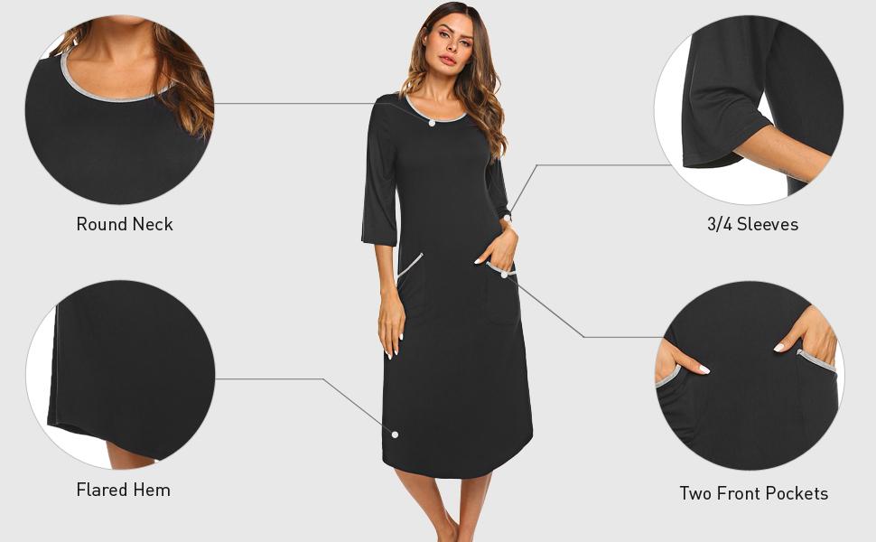 Nightgowns for Women Long Sleeve Sleepshirt Soft