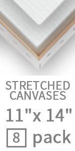 white blank stretched canvas 11x14 inch - 8 pack