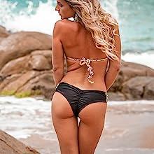 Women's Hot Brazilian Bikini Thong Womens Swimsuits 2 Pcs BrazilianThong Bikini Set High Waisted