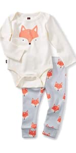 Tea Collection 2-Piece Bodysuit Baby Outfit, Chalk, Fox Design with White Top and Gray Pants