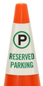 Reserved Parking Only Traffic Cone Message Collar, Prismatic Reflective PVC