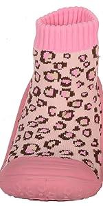 Skidders Baby Toddler First Walker Girls Grip Rubber Non-Slip Sole Flexible Shoes Pink Leopard Print