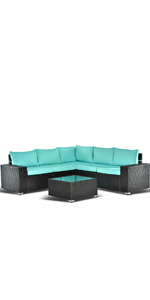6 PCS Blue Outdoor Furniture