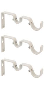 Ycolnaefllr Set of 3 Weathered White Double Curtain Rod Brackets