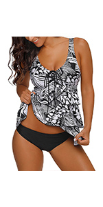 GRAPENT Women Ruffle Layered Two Piece Swimsuit Flounced Tankini Set with Brief