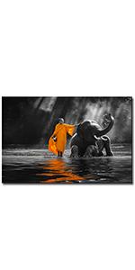 wall decor canvas art buddah monk thai painting zen meditation elephant spiritual artwork paintings