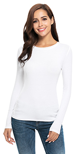 Womens Long Sleeve/Short Sleeve High Turtleneck Mock/Crew Neck Slim Fit Stretchy Layer T Shirts Tops
