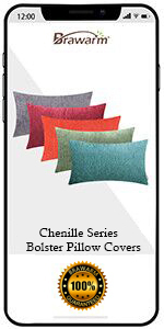 Chenille Striped Bolster Pillow Covers