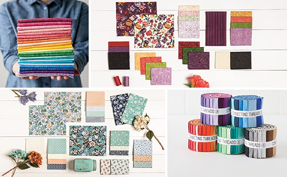 fabric bundle piece stack square colorful color