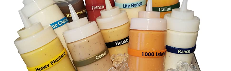 """""""bottle dressing food supply kitchen labels removable restaurant reusable salad squeeze squirt"""