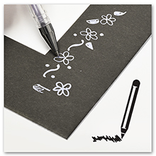 pen drawing on black mat