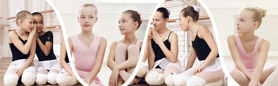 Lightweight Kids Girls Womens Split Sole Foldable Leather Ballet Flats Shoes
