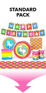 Silver Lining Rainbow Unicorn Standard Pack Paper Plates Cups Napkins and Table Cover LGBTQ