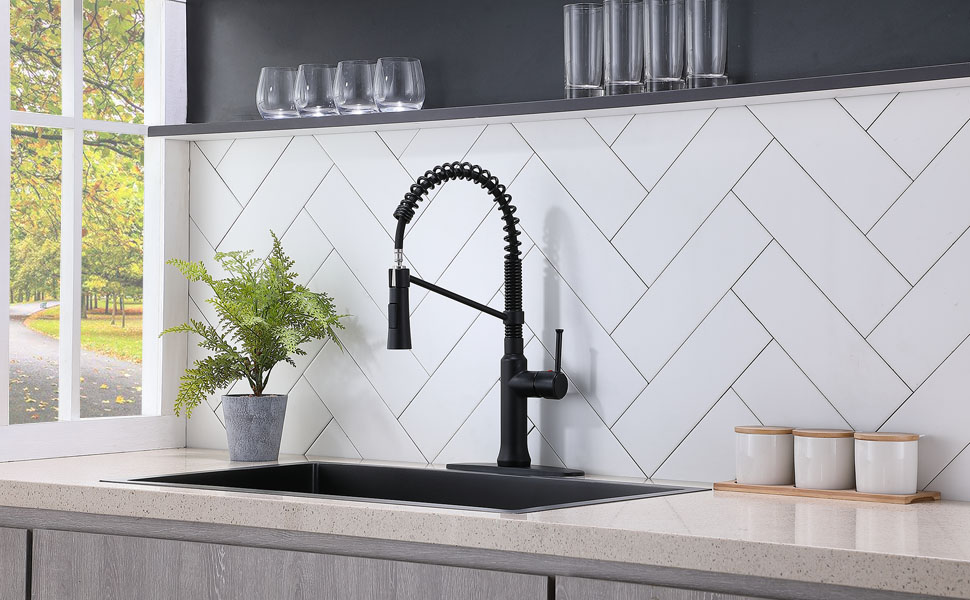 Shaco Commercial Pre Rinse Single Handle High Arc Stainless Steel Matte Black Spring Kitchen Faucet Pull Out Single Hole Single Lever Faucets For Kitchen Sinks With Pull Down Sprayer