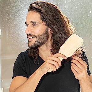 GranNaturals Wooden Bristle Paddle Hair Brush
