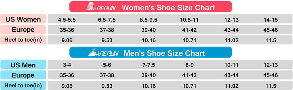 water shoes size chart