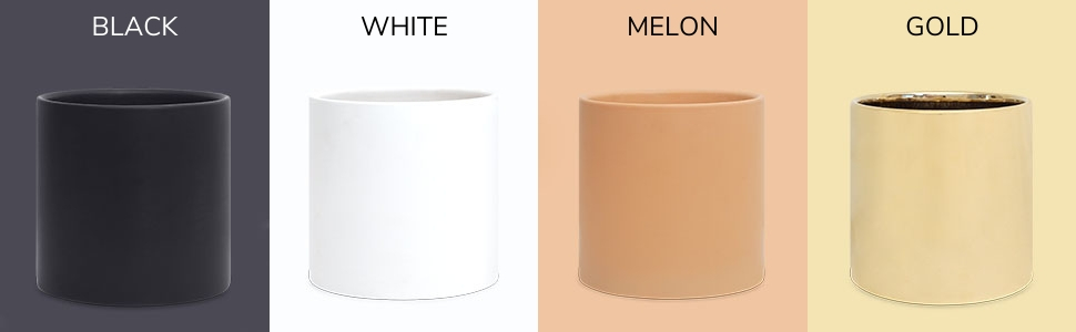 Modern Ceramic Planters Available in White Black Peach and Gold