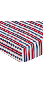 Red, White and Blue Striped Baby or Toddler Fitted Crib Sheet for Baseball Patch Sports