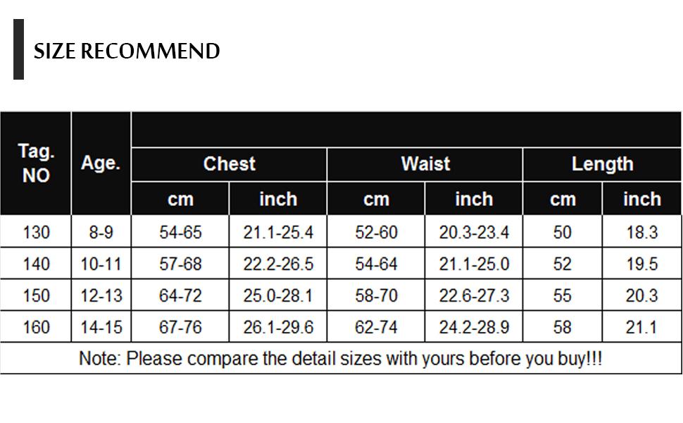 leotards Size Information