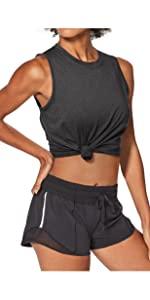 Black Running sleeveless Shirts for women