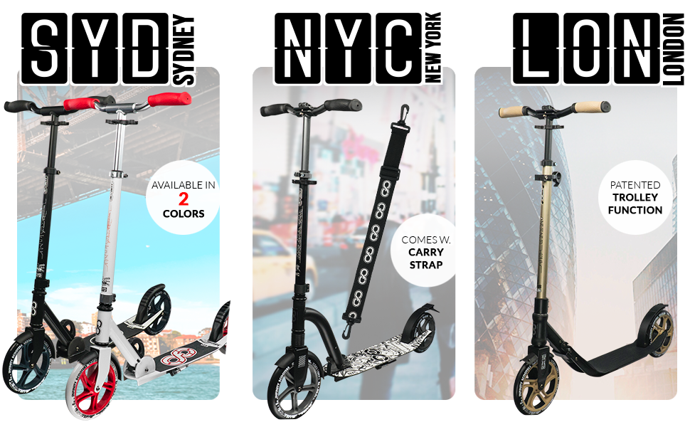 Available in and Multiple Colors City Series for Adults and Teens Crazy Skates Foldable Kick Scooters