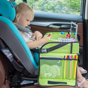 baby in car seat with green tray