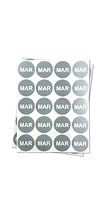 1PK |1 inch - Round Months of the Year: March Stickers