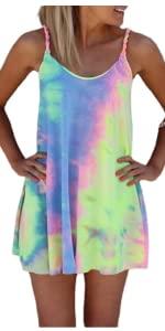 Tie Dye Twist Mini Dress Women Summer Sleeveless Vibrant Color Loose Bathing Suit Cover Up