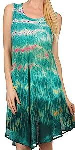 swing dress A-line sundress beach cover-up tank dress boho summer sleeveless  caftan casual maxi