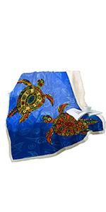 Sleepwish Tribal Sea Turtle Fleece Throw Blanket