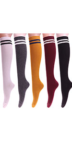 Long Knee High Solid Striped Cotton Crew Socks w95