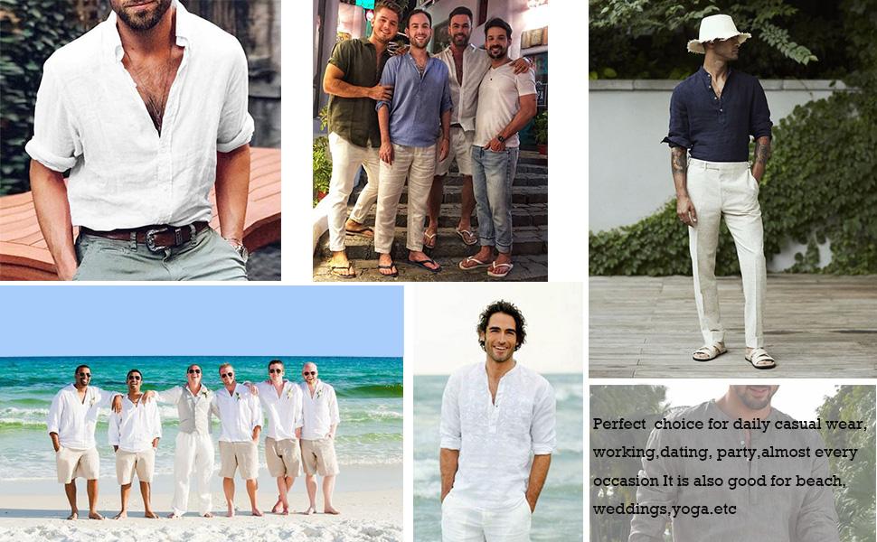 Men's Cotton Linen Henley Shirt