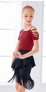 Girls Latin Dance Tops&Skirt