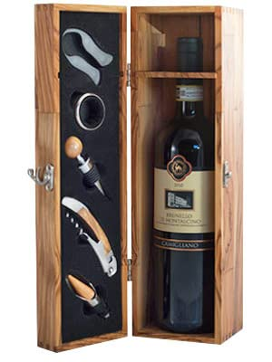 Thirteen Chefs Olive Wood Wine Box with Sommelier Kit