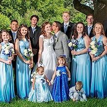 Gradient Blue womens juniors Convertible Warp Maxi Dress Multi Way Strap long prom dress