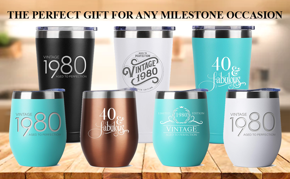 1980 40th birthday gifts gift for women and men him her tumbler tumblers stainless steel insulated