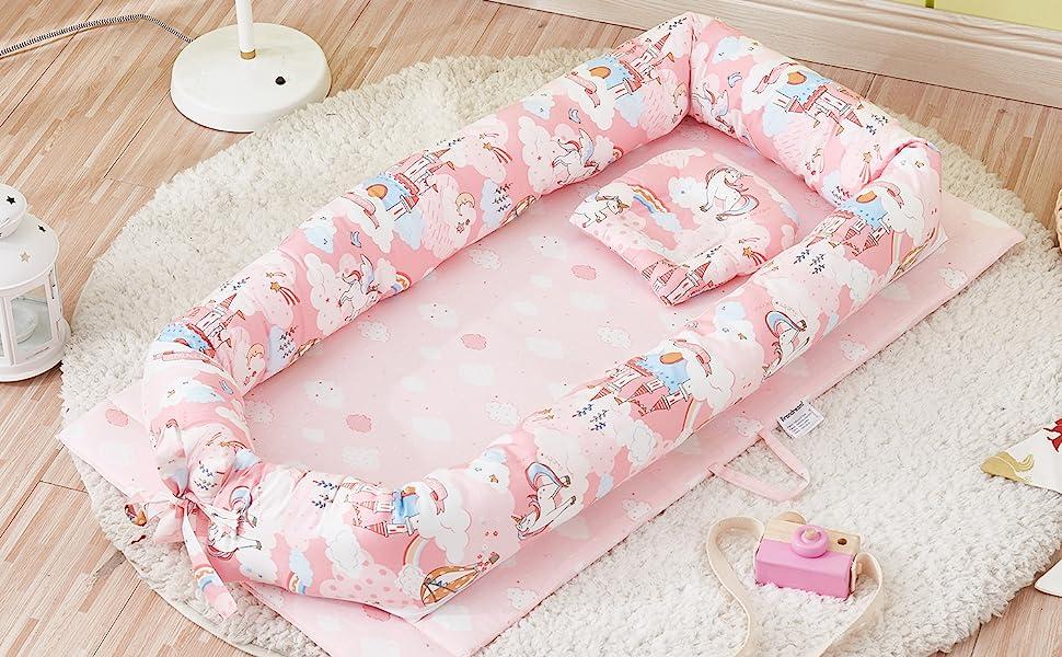 pink baby bassinet bed unicorn nest bed newborn lounger