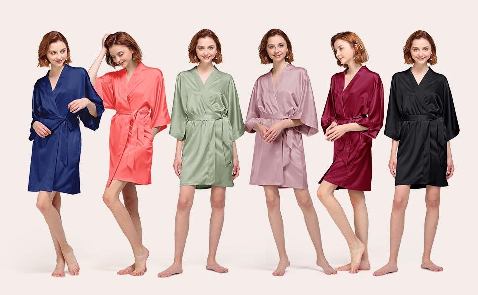 satin silky robe for women short bridesmaid bride wedding party robe S M L XL XXL burgundy navy blue