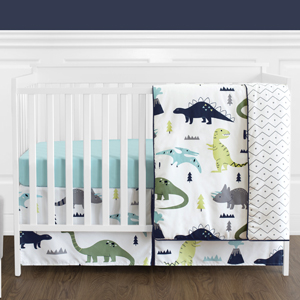 Navy Blue and Green Modern Dinosaur Baby Boys Bedding Set Without Bumper for Mod Dino Collection