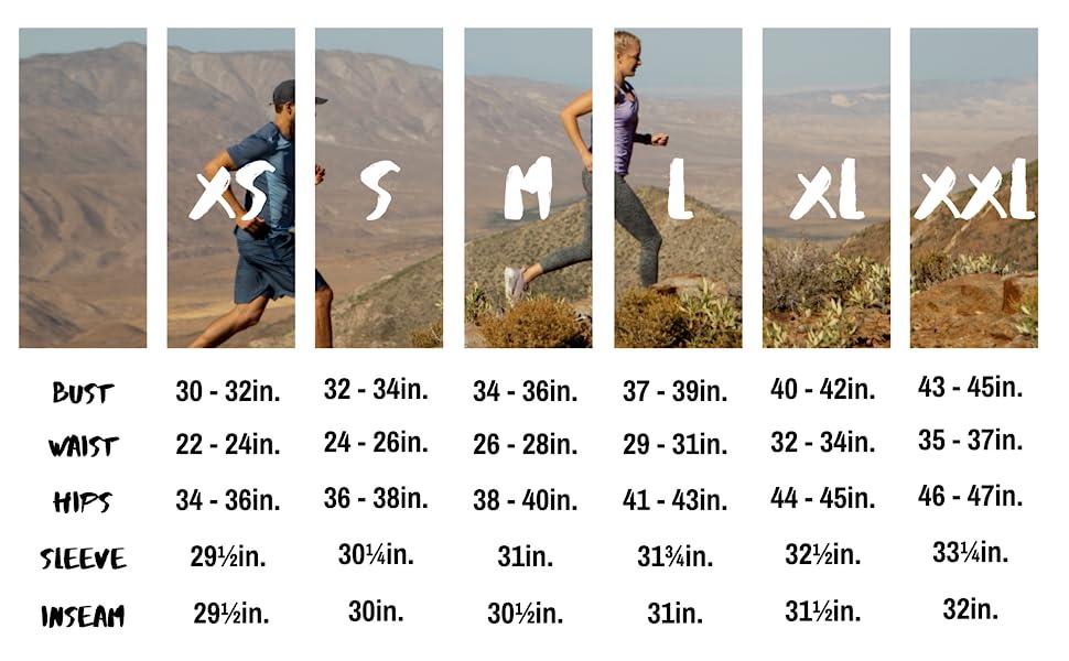 rgear women's size chart running shorts high five pocket