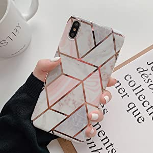 KERZZIL Plating Marble Case for iPhone Xs/X