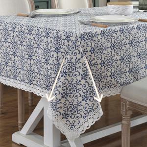 Vintage Navy Damask Tablecloth
