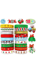 18Pcs Christmas Ribbons; 90 Yard Grosgrain Satin Fabric Ribbons