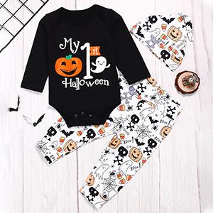 Baby Boy Girl Halloween Outfits My First Halloween Pumpkin Romper Bodysuit+Pants+ Cute Hat 3Pcs