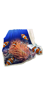 Sleepwish 3D Ocean Plush Sherpa Throw Blanket
