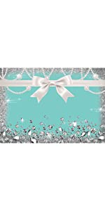 Blue Bow-Knot Birthday Party Photography Backdrop Glitter Photo Background 5x3ft Banner