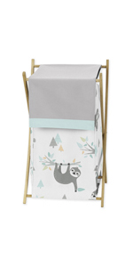Sweet Jojo Designs Blue and Grey Jungle Sloth Leaf Baby Kid Clothes Laundry Hamper