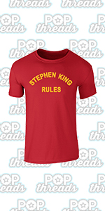 Stephen King Rules Horror Movie Book Merchandise Graphic Tee T-Shirt for Men