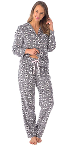 WOMENS LADIES PAJAMAS FLANNEL COTTON CUTE COZY BLUE PINK RED WHITE GIRLY PATTERN PRINT GIRLS GOWN
